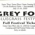 July 13-16, 2000 GreyFox Bluegrass Festival  Ancramdale, NY