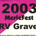 Merlefest RV Parking Sticker