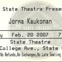February 20, 2007  Jorma Kaukonen State Theatre State College, PA