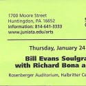 January 24, 2008  Bill Evans Soulgrass All-stars With Richard Bona & David Weckl Rosenberger Auditorium Oller Hall Juniata College