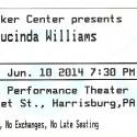 June 18, 2014   Lucinda Williams   Whitaker Center   Harrisburg, PA