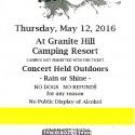 May 16, 2016      Gettysburg Bluegrass Festival     Granite Hill Campground    Gettysburg, PA