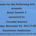 November 1, 2012 Banjo Summit 2 Eisenhower Auditorium