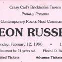 February 12, 1990  Leon RussellCrazy Carl's Brickhouse TavernState College, PA