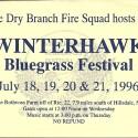 July 18-21, 1996  Winterhawk Bluegrass Festival Rothvoss Farm Ancramdale, NY