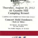 August 16, 2012  Gettysburg Bluegrass Festival  Granite Hill Campground